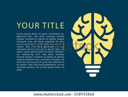 Infographic with light bulb and brain as template for topics e-learning, machine learning, design thinking, business analysis, education,university, high school - stock vector