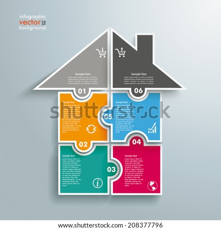 Infographic with rectangle puzzle pieces on the grey background. Eps 10 vector file. - stock vector