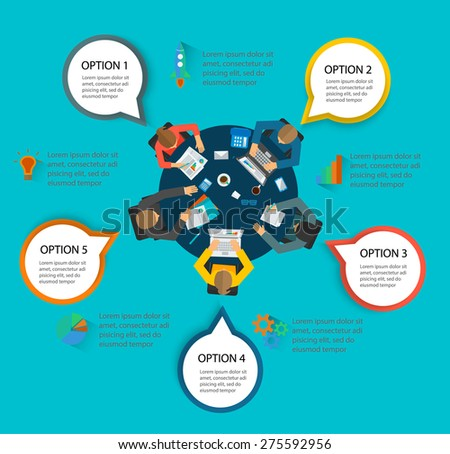 Infographic with top view of desk with people sitting , checking reports, brainstorming. Teamwork infographics concept. Design elements: laptops, mobile phones, pens, coffee mugs, sheets, documents  - stock vector