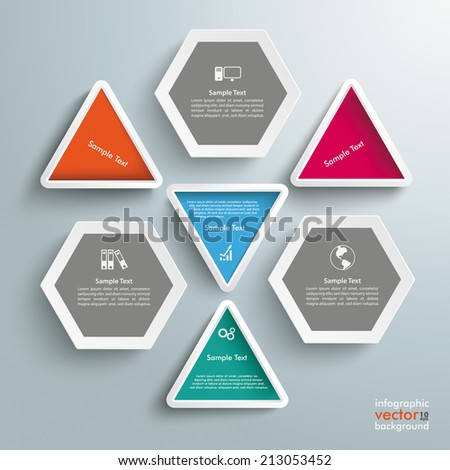 Infographic with triangles and hexagons on the grey background. Eps 10 vector file. - stock vector