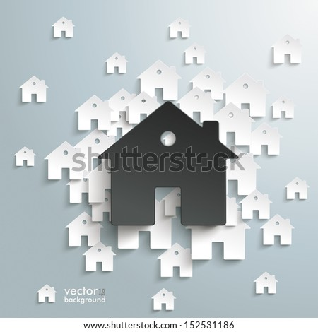 Infographic with white and black houses on the grey background. Eps 10 vector file. - stock vector