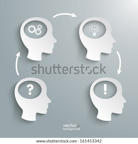 Infographic with white four heads on the grey background. Eps 10 vector file. - stock vector