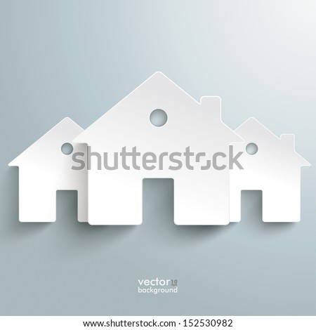Infographic with white houses on the grey background. Eps 10 vector file. - stock vector