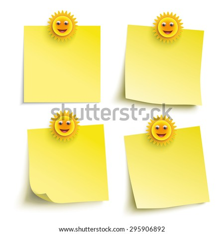 Infographic with yellow stickers and smiling suns on the white background. Eps 10 vector file. - stock vector