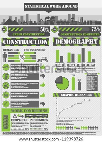 INFOGRAPHIC WORK GREEN - stock vector