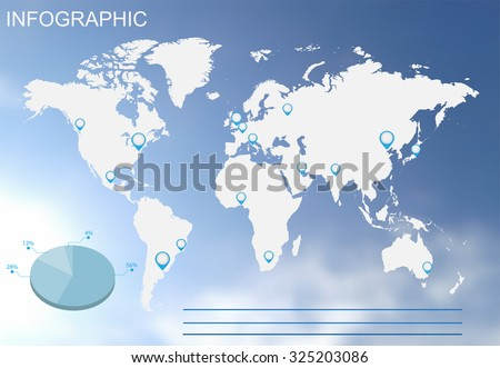 Infographic world map. Infographic vector illustration.