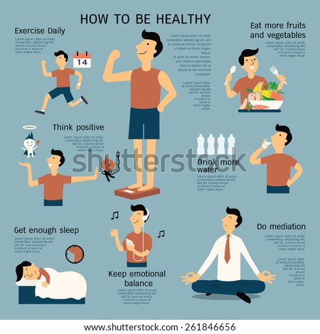 Infographics about how to be healthy, flat design, cartoon character in simple design.  - stock vector