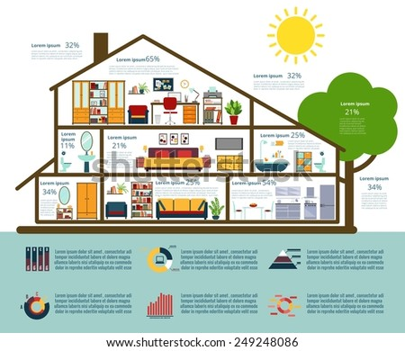 Infographics, analysis, statistics and graphs. Houses in the flat section. Vector illustration - stock vector
