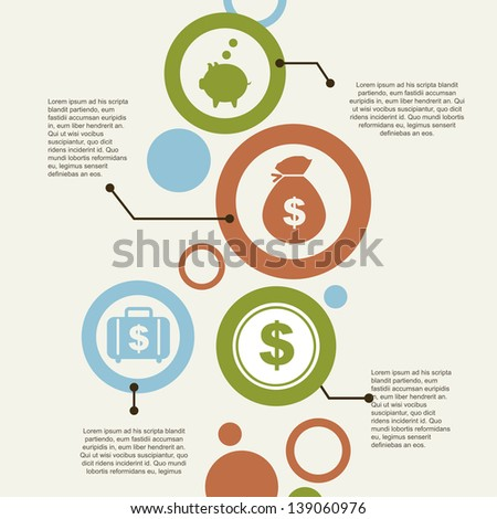 infographics and economics icons  over vintage background vector illustration - stock vector