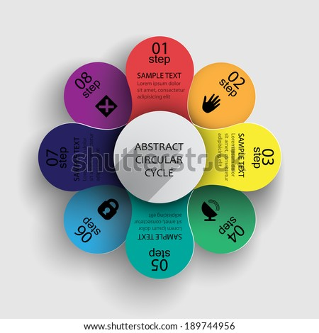 infographics as a multicolored flower / step by step your ideas, data, information - stock vector