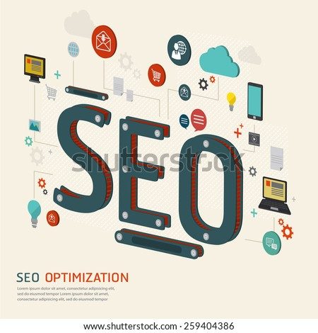 infographics background seo optimization. SEO concept. Website SEO machine. - stock vector