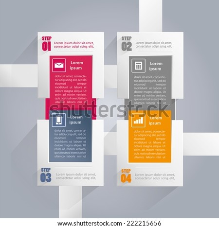 Infographics background with rectangular elements and icons in every option - four steps - stock vector