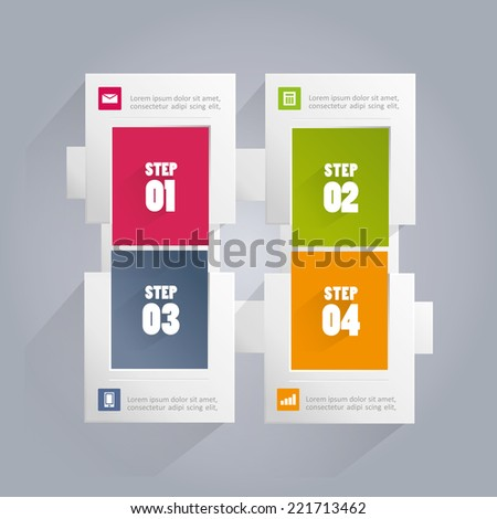 Infographics background with rectangular elements including four steps or options with different colored backgrounds - stock vector