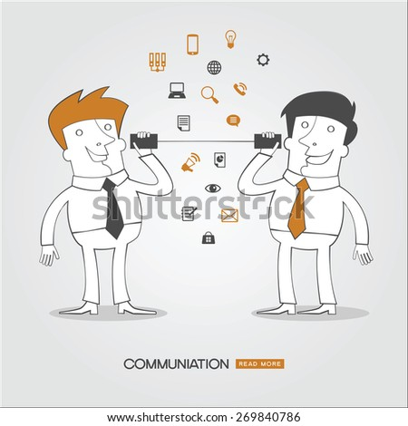 Infographics business background. Concept communicationg. Business people  surrounded by business icons. - stock vector