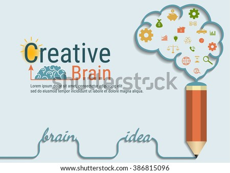 Infographics business background flat design of  creative brain idea concept