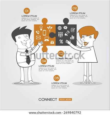 Infographics business background. People who have two puzzles to connect surrounded by business icons, text and numbers. Concept connect - stock vector