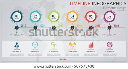 Infographics Business Horizontal Timeline Process Chart Stock - Timeline graphic template