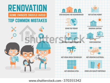 infographics cartoon character about renovation mistakes - stock vector