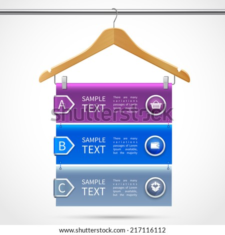 Infographics clothes wooden hanger with description on tube isolated 3d vector illustration - stock vector