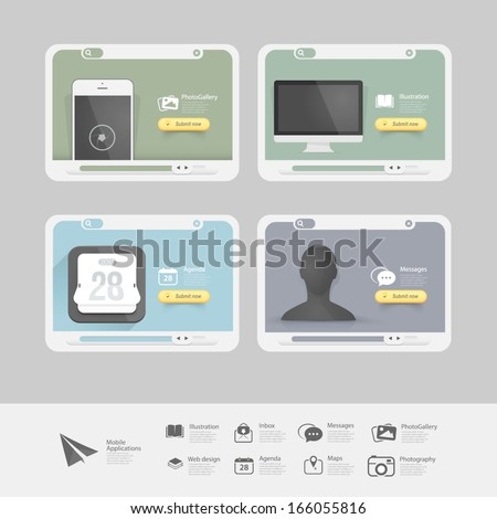 Infographics Collection of vitange cards with flat Ui elements and icons for websites - stock vector