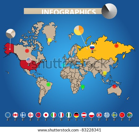 Infographics. Color earth map with flags of different countries, on blue - stock vector
