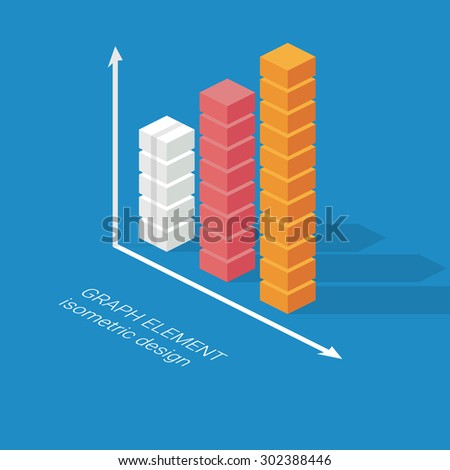 Infographics column graph element. Isometric design chart. Statistics icon for data visualization. Eps10 vector illustration. - stock vector