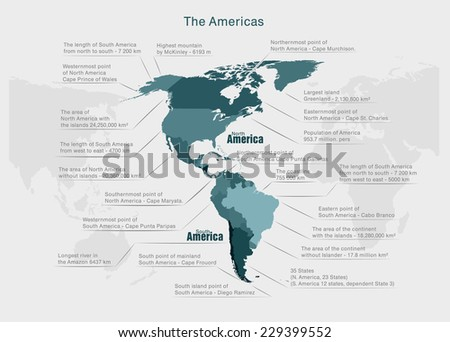 infographics continent America blue and gray vector - stock vector