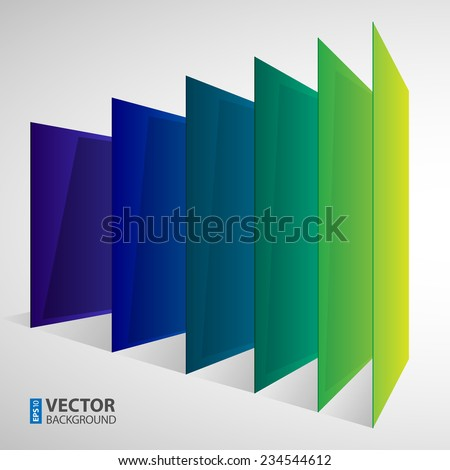 Infographics 3d perspective colorful abstract rectangles on white background. RGB EPS 10 vector illustration - stock vector