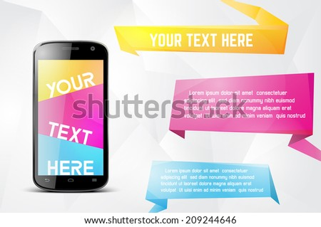 Infographics desgin template with smartphone - stock vector