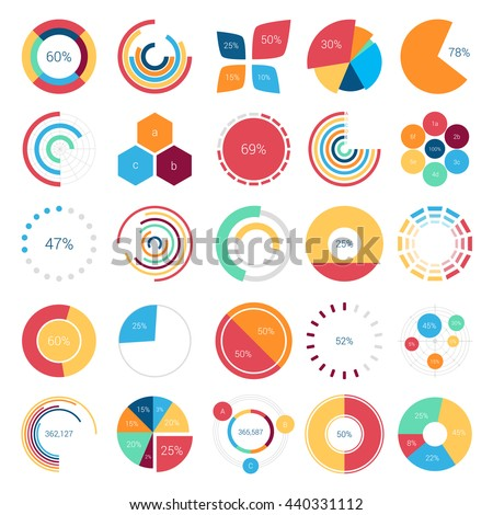 Infographics design elements with bar or circle, petal or leaf, pie or gauge charts and step diagram for statistic report or document. Visualization poster template for analytics layout of data - stock vector