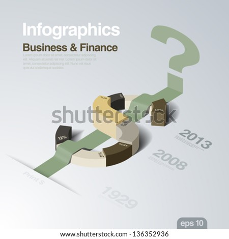 Infographics design template. Business and Finance theme. Dollar as a plot of concept. Creative idea for finance report. Vector. Editable. - stock vector