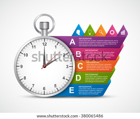 Infographics design template. Clock with colored ribbons. Vector illustration.  - stock vector