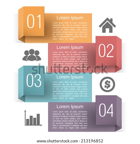 Infographics design template with four origami banners with place for text, numbers and icons, vector eps10 illustration - stock vector