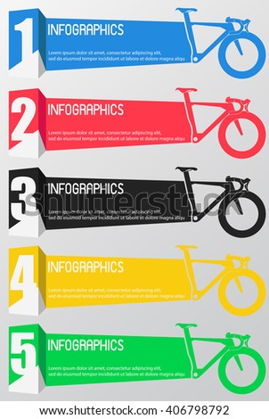 INFOGRAPHICS design the number option for bicycle on the grey background.Eps 10. Can be used for diagram, banner, number options, workflow layout, step up options or web design - stock vector
