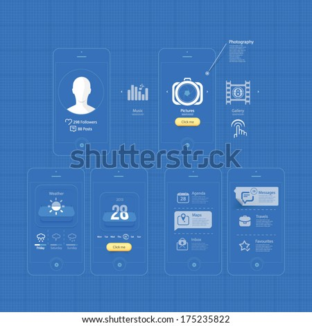 Infographics design UI Elements: Mobile Gui blueprints. Collection of colorful flat kit UI navigation elements with icons for personal portfolio website templates - stock vector