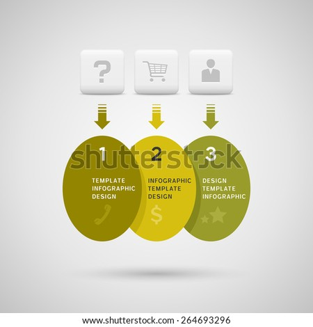 Infographics design with green yellow ellipse elements on gray background - stock vector