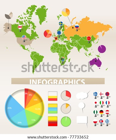 Infographics. Earth map and different chart - stock vector