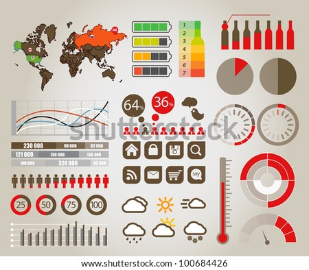 Infographics. Earth map and different charts and symbols - stock vector