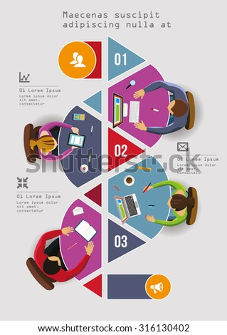 Infographics Element - Top View on Arrow with People. Vector illustration. - stock vector