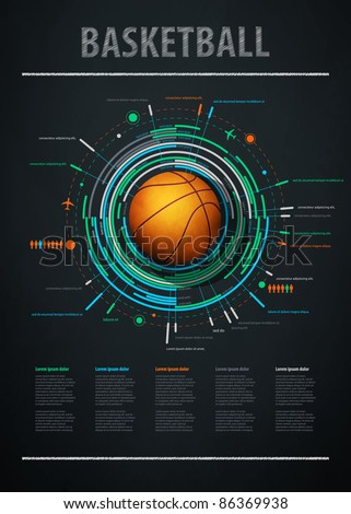 infographics element with sports basketball Ball - stock vector