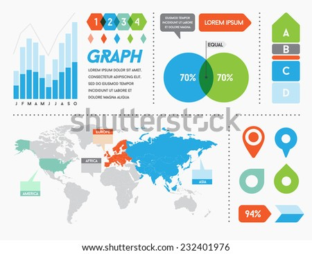 Infographics Elements and Objects Big Set Vector Modern for Business with Flat Design For Web, Print Booklets Brochures or Applications  - stock vector