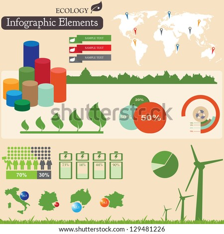 Infographics elements.  Ecology symbols. For you design - stock vector