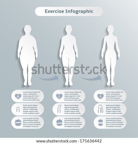 Infographics elements for women fitness and sports of slimness weight loss and healthcare vector illustration - stock vector