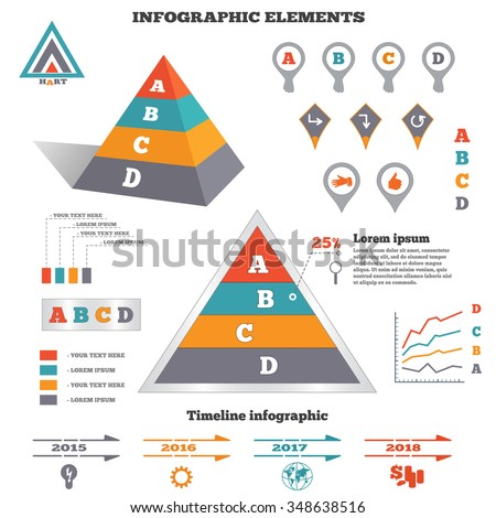 Infographics elements set. Pyramid chart, graphics with tags and marks. Perspective view. Timeline diagram with icons. Four option colored banner. Vector  - stock vector