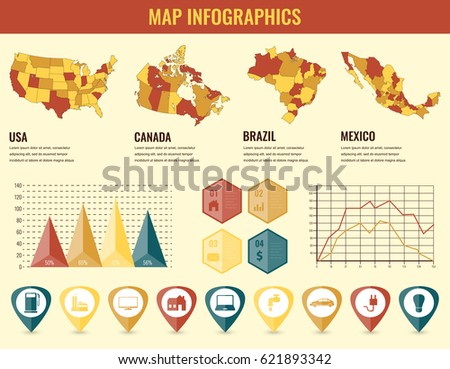 Infographics Elements Set With Collection Maps Of America Usa Canada Brazil Mexico