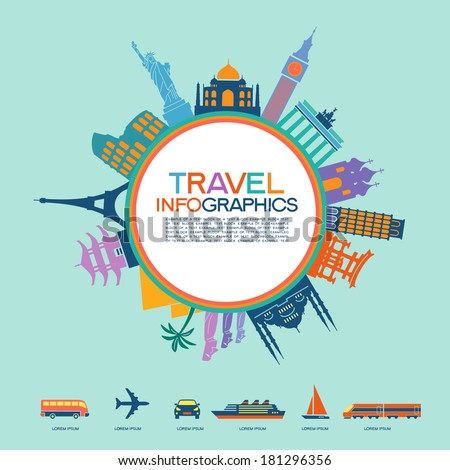 Infographics elements: Travel and Famous Landmarks. Travel concept with stylish colorful icons - stock vector