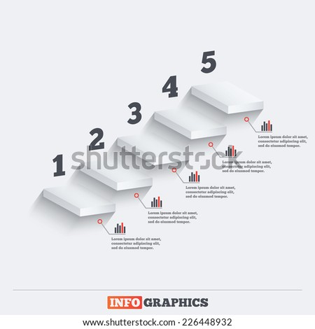 Infographics elements upward staircase or shelves. Five steps concept vector - stock vector