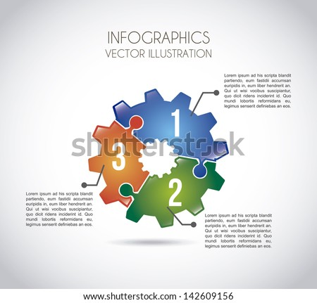 infographics gears over gray background vector illustration - stock vector