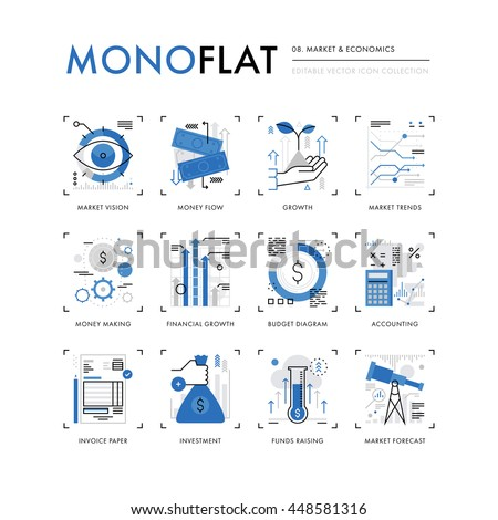 Infographics icons collection of global market economics, funds raising and financial trends. Modern thin line icons set. Premium quality vector illustration concept. Flat design web graphics elements - stock vector