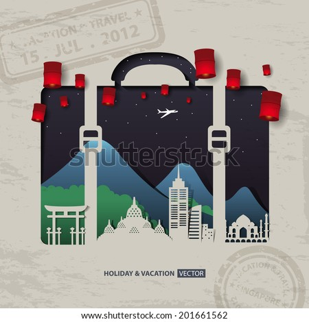 Infographics luggage bag Travel and Vacation concept elements. - stock vector